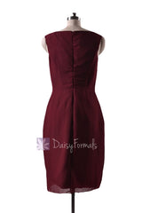 In stock,ready to ship - short knee length sheath v-neck red bridesmaid dresses(bm266) - (falu red)