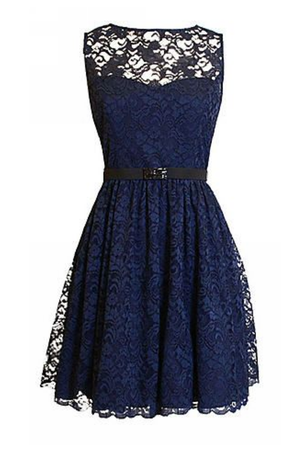 Custom Navy Lace Bridesmaid Dress Dark Navy Blue Scoop Lace Party Dress Formal Dress Bm43226