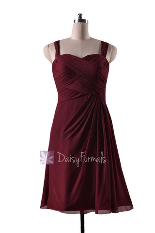 In stock,Ready to Ship - Knee Length Pleated Sweetheart Red Chiffon Bridesmaid Dress(BM732S) - (Falu Red, Sz12)