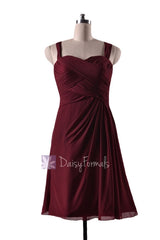 In stock,ready to ship - short knee length pleated sweetheart red chiffon bridesmaid dress(bm732s) - (falu red, sz12)
