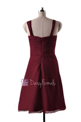 In stock,ready to ship - short knee length pleated sweetheart red chiffon bridesmaid dresses(bm732s) - (falu red, sz12)