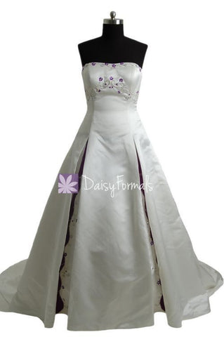 Strapless Embroidery Bridal Satin Wedding Dress Long Satin Bridal Dress (GSM012)