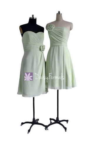 Tea Green Bridesmaids Dresses Short Strapless Dresses Sweetheart Prom Dress (MM001)