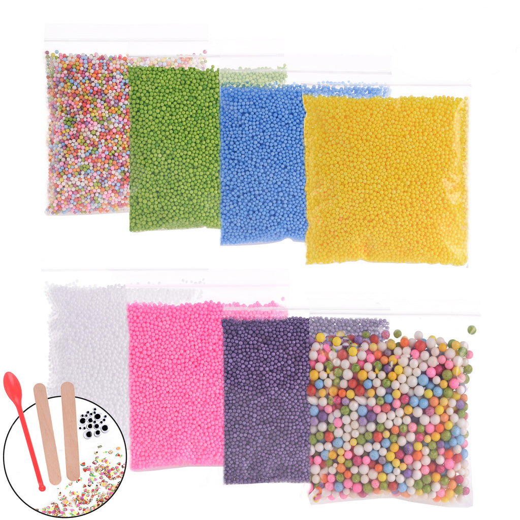 71000pcs Foam Beads for Slime and DIY Crafts Supplies(8Pack), Colorful Styrofoam Balls For Making Floam, School Arts, Fillter - Free Bonus Fruit Slice + Googly Eyes + Slime Tools Set(EAN: 4813781491907)