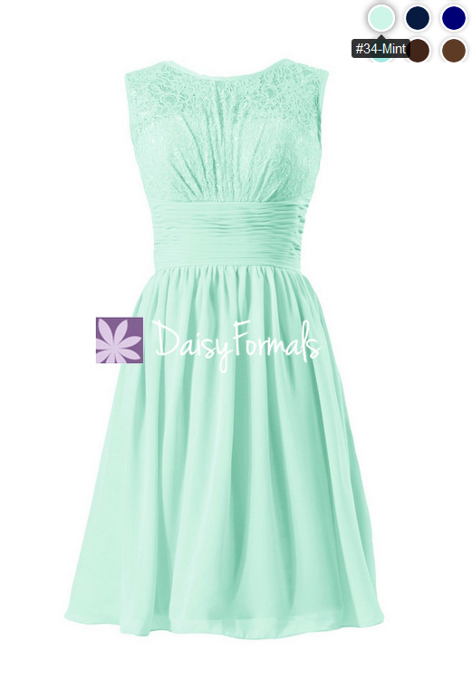 Short mint lace bridal party dress mint green vintage chiffon formal dress (bm2529)