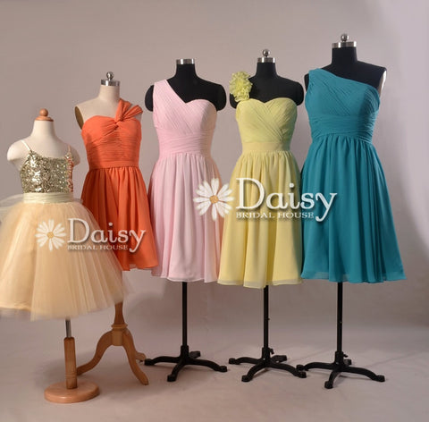 Sequined Flower Girl Dress,Orange Chiffon Dress,Pink Bridesmaid Dresses,Yellow Dress,Teal Dress (MM62)