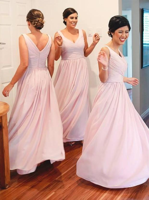Simple A-Line V-Neck Floor Length Pink Ruched Bridesmaid Dress (BMA2012L)