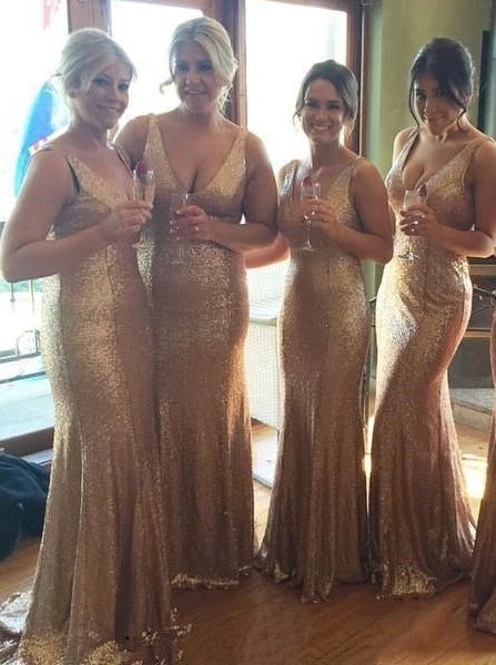 V-Neck Sleeveless Sweep Train Champagne Sequined Bridesmaid Dress (BMA20146)