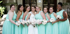 One shoulder mint green formal bridesmaid dress chiffon party dresses w/fabric flowers(bm140211)