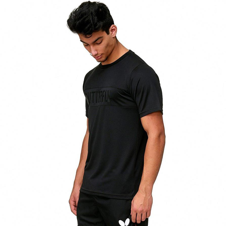 Butterfly Stripe T-Shirt [Black] ClothingButterfly - Yumo Pro Shop - Racquet Sports online store