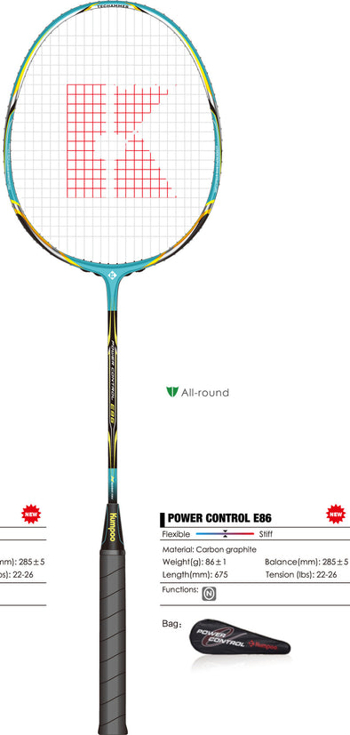 Kumpoo Power Control E86 Badminton Racket - Yumo Pro Shop - Racket Sports online store