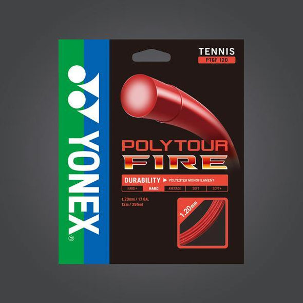 Yonex Polytour Fire 120 17G Red Tennis Strings Hard Feeling