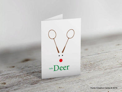 Hello Deer Badminton Christmas Card - Yumo Pro Shop - Racket Sports online store