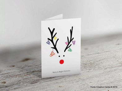 Reindeer Badminton Christmas Card - Yumo Pro Shop - Racket Sports online store