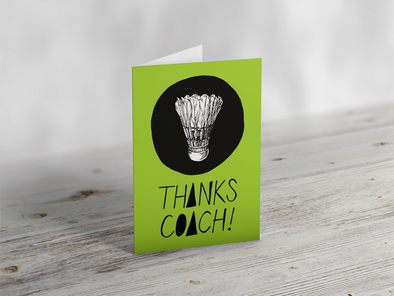 'Thanks Coach' Badminton Greeting Card