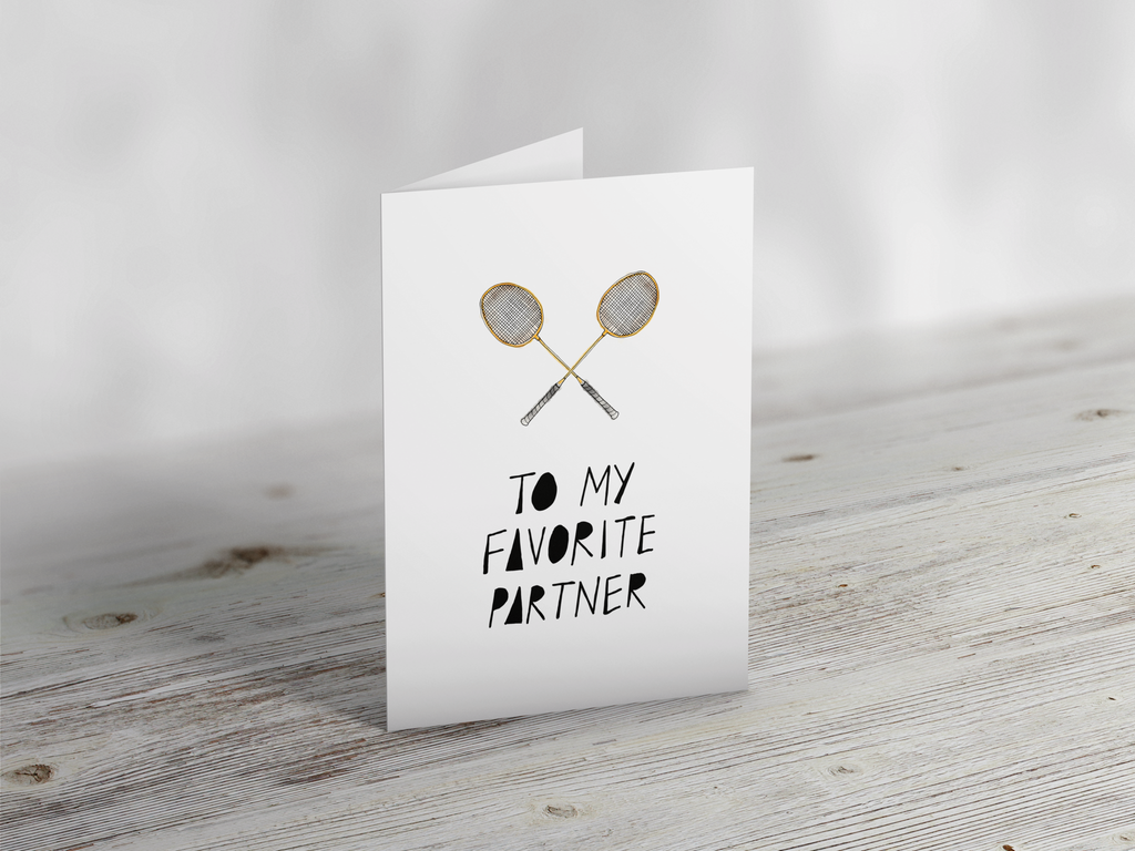 'Favourite Partner' Badminton Greeting Card Greeting CardYumo Pro Shop - Racquet Sports online store - Yumo Pro Shop - Racquet Sports online store