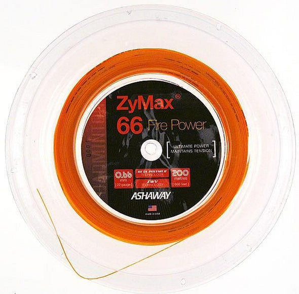 ASHAWAY ZYMAX 66 FIRE POWER - FIRE ORANGE (200m Reel) - Yumo Pro Shop - Racket Sports online store