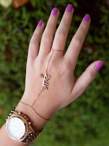 Solid Rose Gold Hand Jewel with Pink Stone