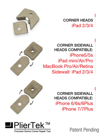 List of included corner sidewall compatible heads.