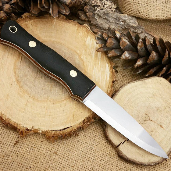 Mountaineer Bushcraft Knife, Black Canvas Micarta