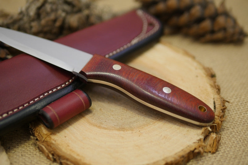 Wayfarer Bushcraft Knife, Bloodwood Handle Scales
