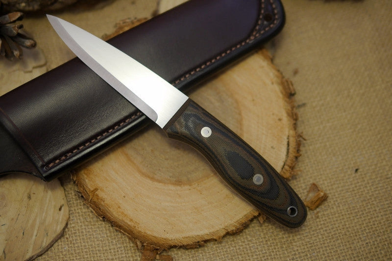 Wayfarer Bushcraft Knife, Textured Camo Canvas Micarta Handle Scales