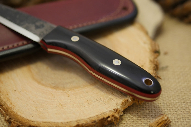 Wayfarer Bushcraft Knife, Black Buffalo Horn Handle Scales
