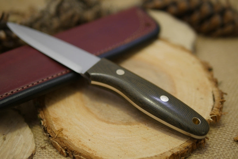 Wayfarer Bushcraft Knife, Green Canvas Micarta Handle Scales