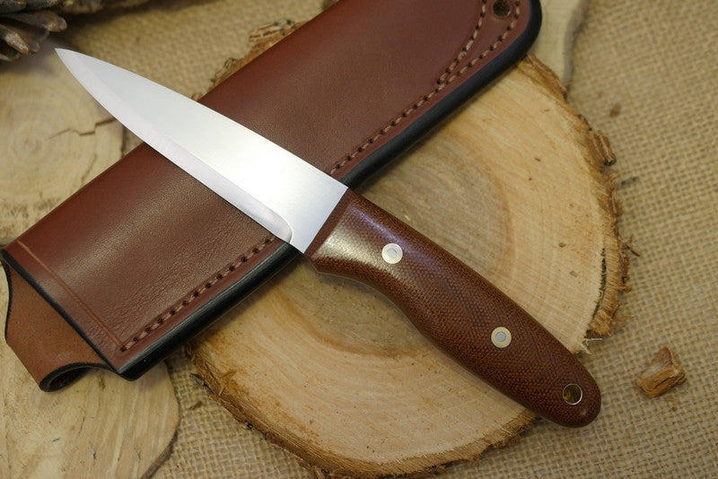 Wayfarer Bushcraft Knife, Natural Brown Canvas Micarta Handle Scales