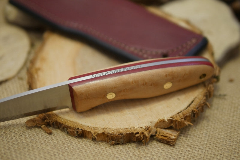 Wayfarer Bushcraft Knife, Birdseye Maple Handle Scales