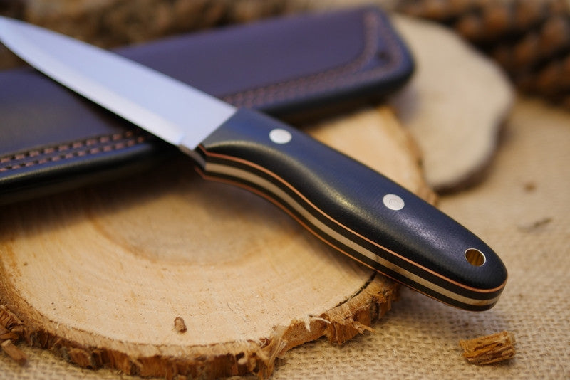 Wayfarer Bushcraft Knife, Black Canvas Micarta Handle Scale, Copper Liners