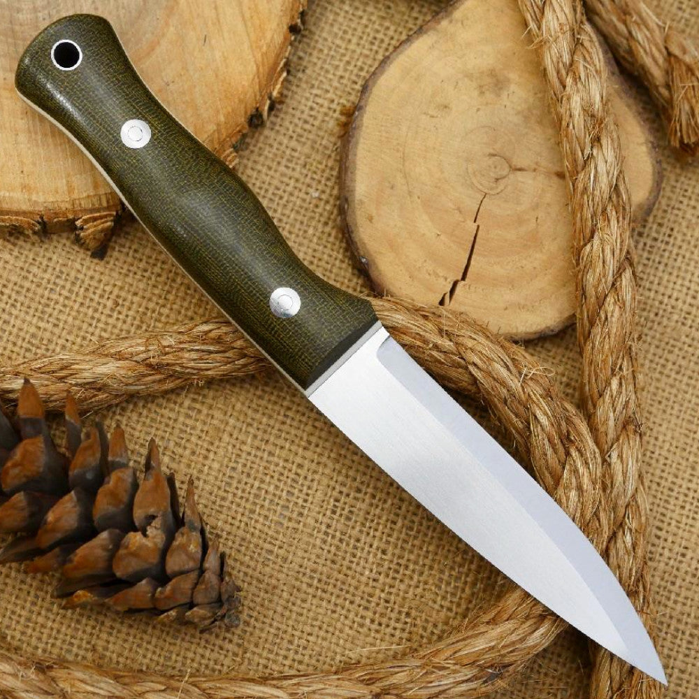 Mountaineer: Green Canvas Micarta & White Linen