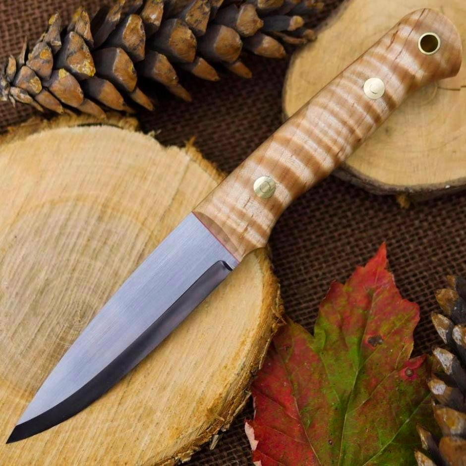 Available Now Classic: Stabilized Curly Maple & Red - Adventure Sworn Bushcraft Co.