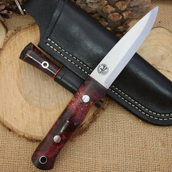 Classic Bushcraft Knife, Purple Box Elder Burl