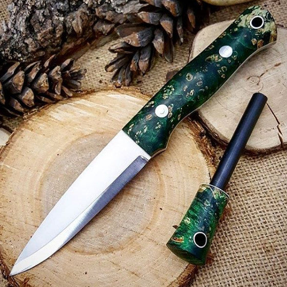 Mountaineer Bushcraft Knife, Dyed Box Elder Burl