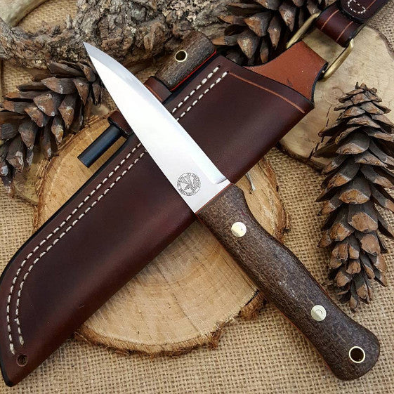 Mountaineer bushcraft knife; Coffee Bag Burlap Micarta