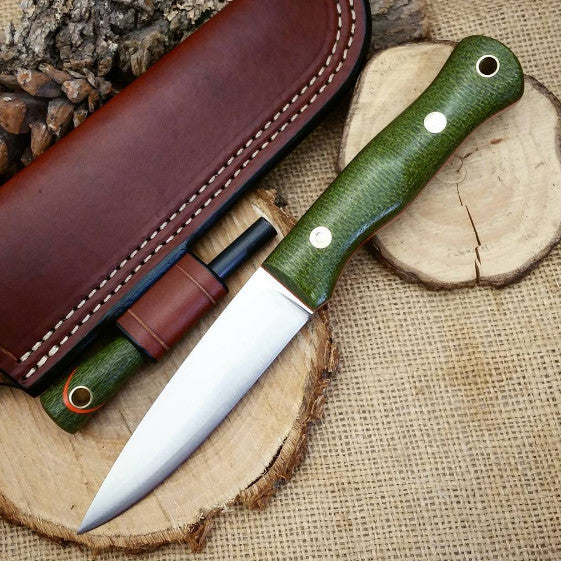 Mountaineer bushcraft knife; Emerald Green Burlap Micarta
