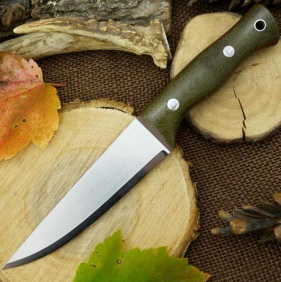 Tradesman Bushcraft Knife, Green Canvas Micarta