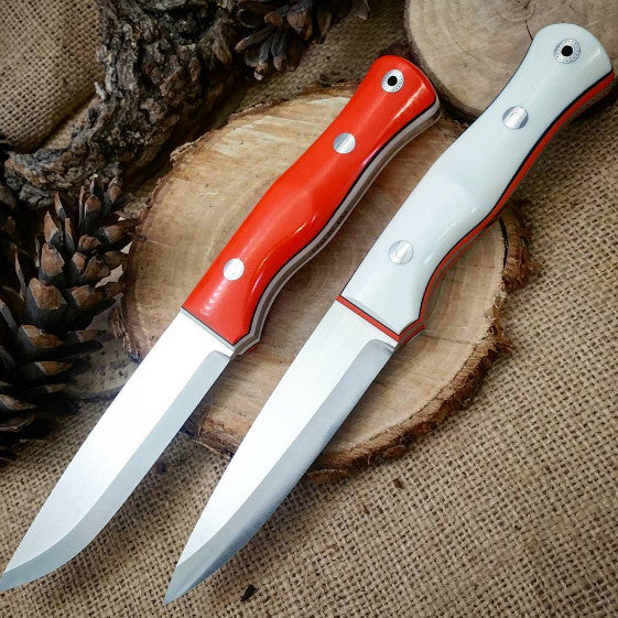 Explorer Bushcraft Knife, Hunter Orange g10 (left)