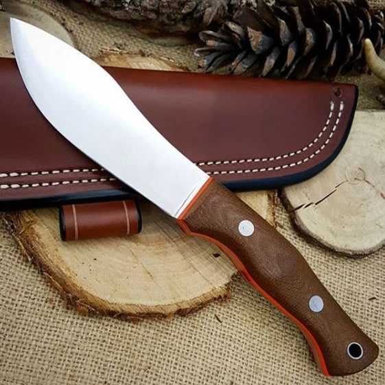 Guide Bushcraft Knife, Textured Brown Canvas Micarta
