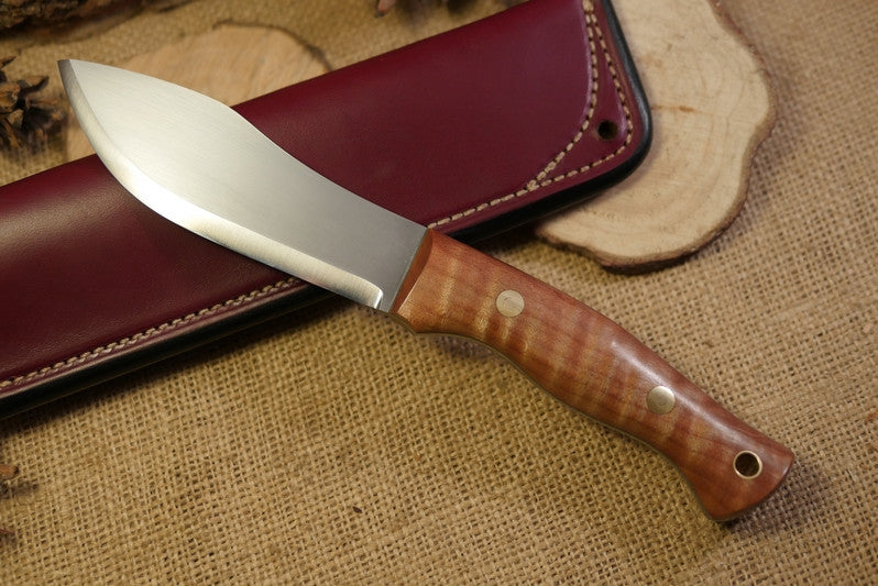 Guide Bushcraft Knife, Curly Maple Handle Scales