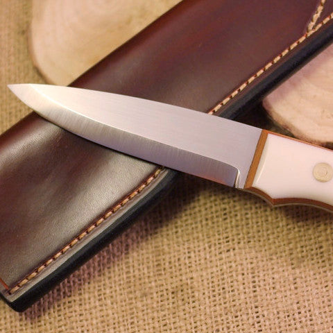 Classic Bushcraft Knife, White G10 Handle Scales