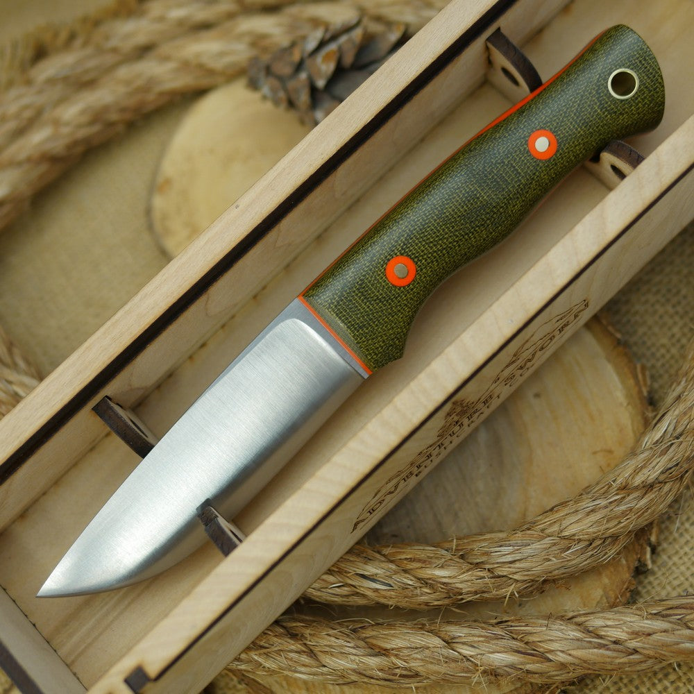 Huntsman: Green Canvas Micarta, Orange Liners & Orange G10 Bolts - Adventure Sworn Bushcraft Co.