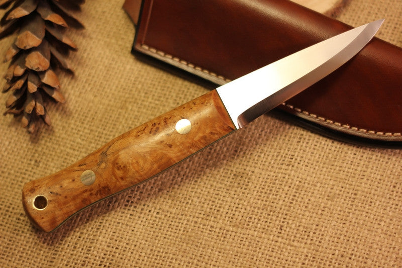 Woodcrafter Bushcraft Knife, Black Ash Burl Handle Scales