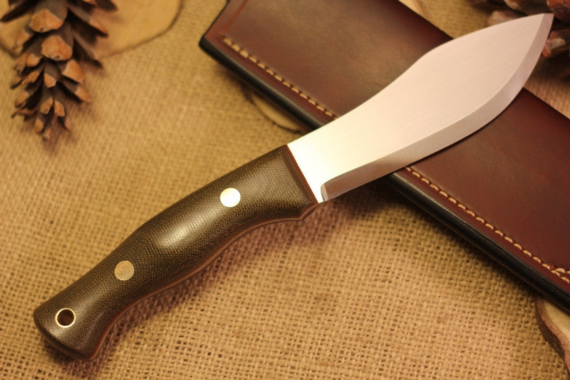 Guide Bushcraft Knife, Green Canvas Micarta Handle Scales