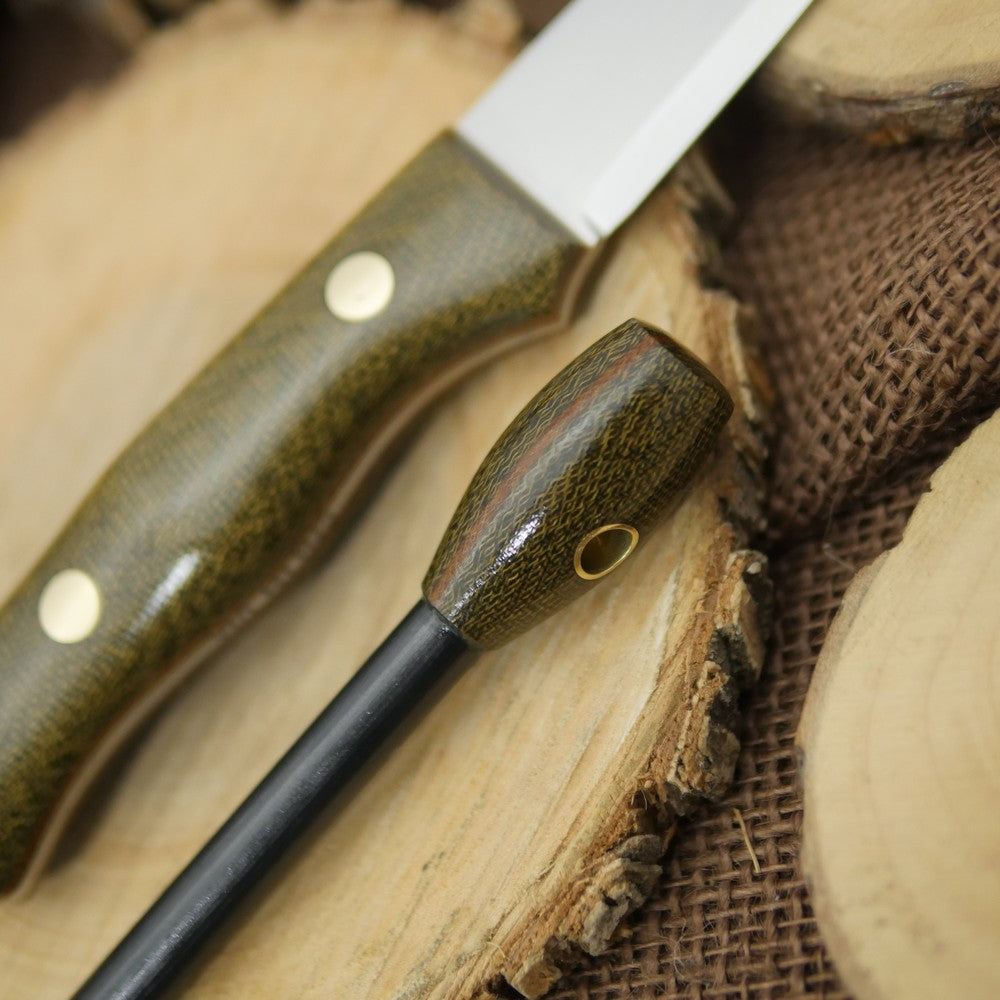 In Stock Voyageur: Green & Natural Brown Canvas & Matching Firesteel - Adventure Sworn Bushcraft Co.