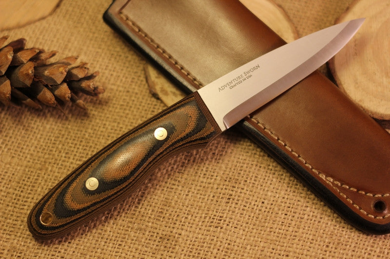 Wayfarer Bushcraft Knife, Camo Canvas Micarta Handle Scales