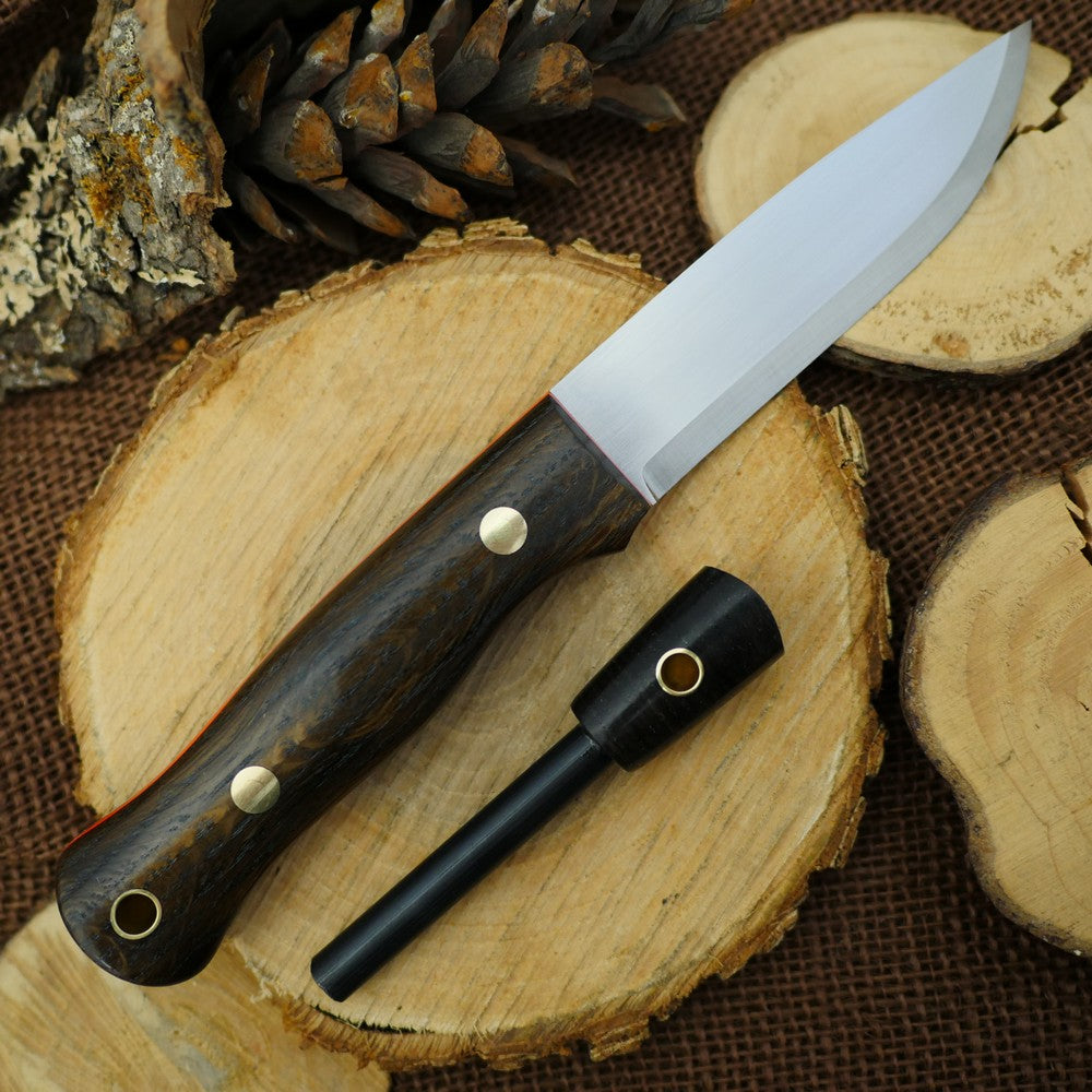 CPM 3V Explorer: Bog Oak, Orange G10 & Matching Firesteel - Adventure Sworn Bushcraft Co.
