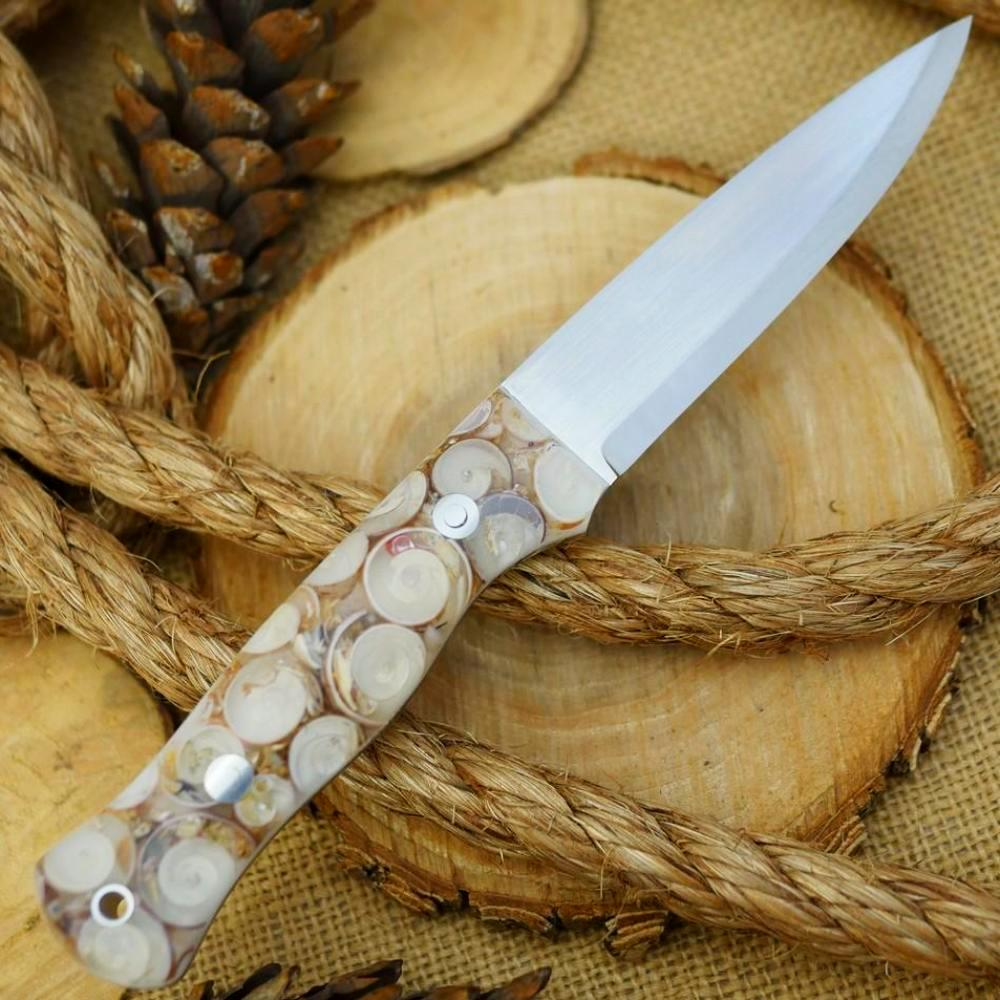CPM 154 Mountaineer: Cast Seashells & White Acrylic - Adventure Sworn Bushcraft Co.