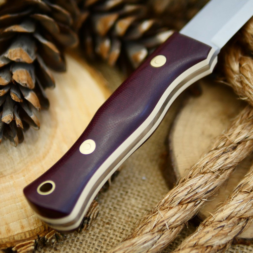 Explorer: Maroon Canvas Micarta and Ivory Paper